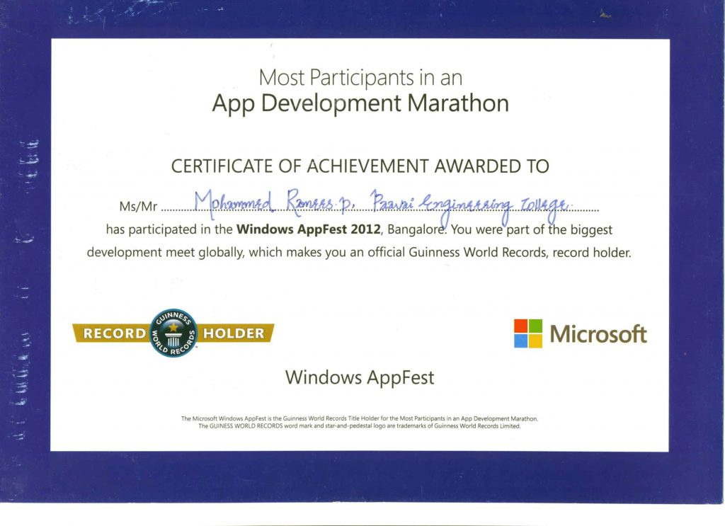 Appfest Banglore Certificate